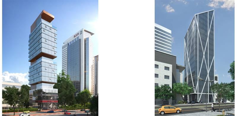 מגדל KGI ברחוב בן גוריון, BBC הדמיה: בר לוי אדריכלים. מגדל הפארק ברחוב אם המושבות, BBC.הדמיה: א-לייט