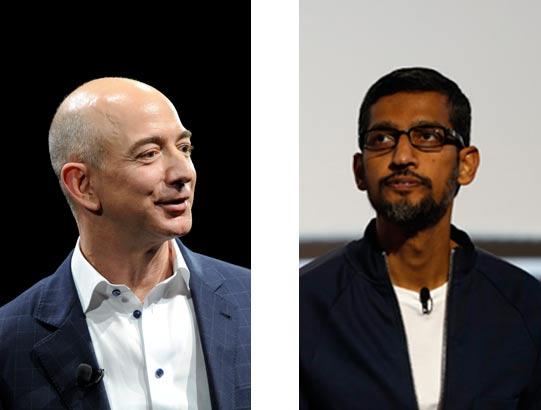 """מנכ""""ל אמזון, ג'ף בזוס ומנכ""""ל גוגל, סונדר פיצ'אי / צילומים: רויטרס"""