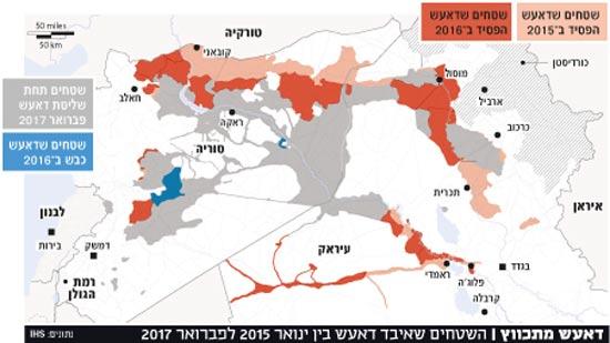 דאעש מתכווץ | השטחים שאיבד דאעש בין ינואר 2015 לפברואר 2017