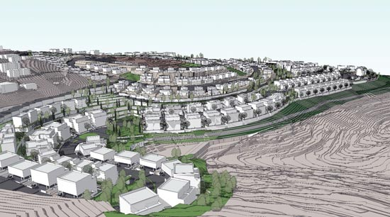 השכונה המערבית המתוכננת באבו גוש/ הדמיה: אדריכל ארי כהן, משרד השיכון