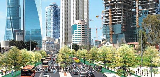 דרך בגין לפני ואחרי / הדמיה: עירית תל אביב