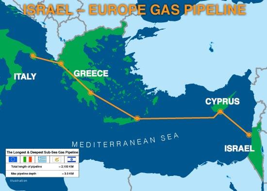 מפת תוואי צינור הגז