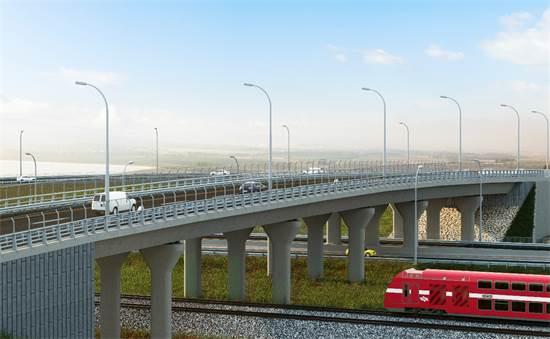 הדמיה של המסילה המזרחית של רכבת ישראל / צילום: משרד התחבורה