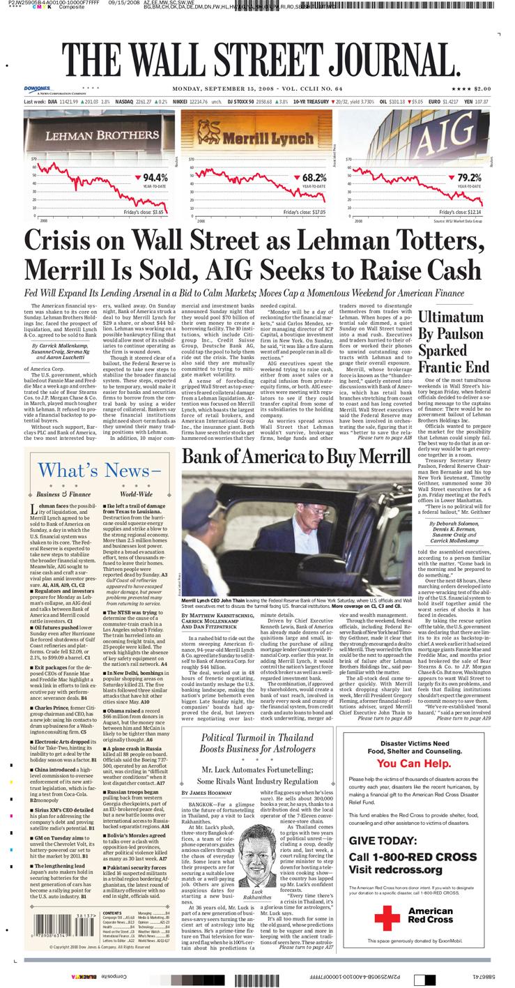 היום שבו קרס ליהמן ברדרס: שערי עיתונים בעולם ב-15.9.08