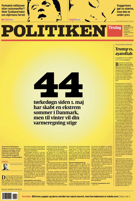 44 ימי הבצורת של דנמרק בעיתון שנצבע בצהוב