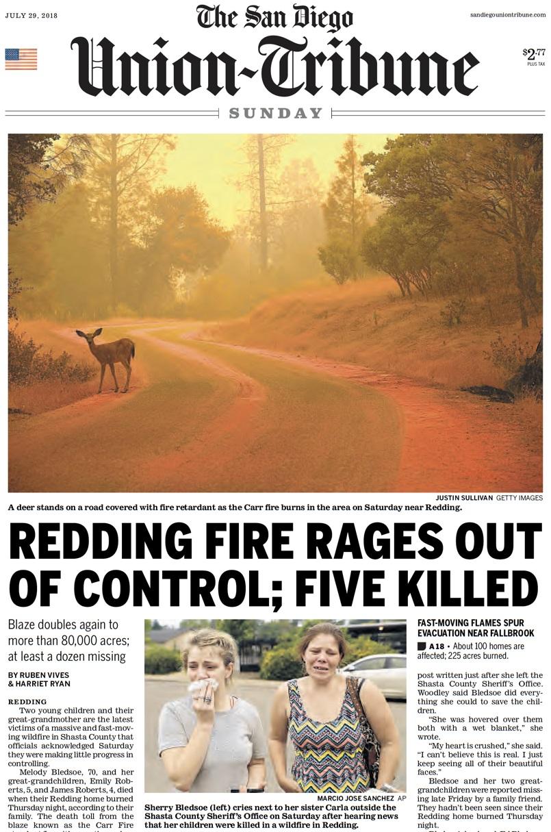 """האש בקליפורניה """"יוצאת מכלל שליטה"""". עופר האיילים עדיין לא שמע על זה"""