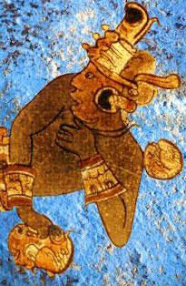 לוחם עם רקע בצבע כחול מאיה. טכנולוגיות מתחום הקריסטלוגרפיה אפשרו לגלות את ההרכב הכימי שלו