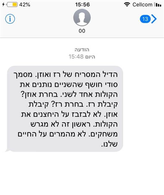 """הודעת טקסט לבחירות לעיריית ראשל""""צ. המועמדים מטנפים זה על זה"""