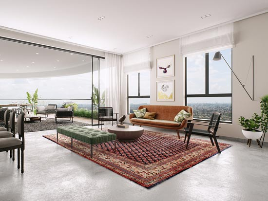או-מא-מי. התרכזות במטבח והסלון: החללים המרכזיים של הבית. הדמיה 3D