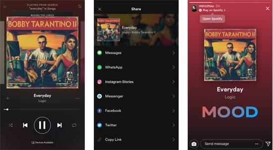 שיתוף סטוריז באינסטגרם ובפייסבוק ישיר מתוך אפליקציות צד שלישי, כמו ספוטיפיי