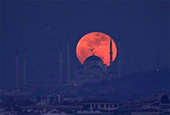 ליקוי ירח מלא באיסטנבול / צילום: רויטרס