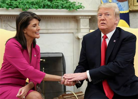 טראמפ והיילי הערב בבית הלבן / צילום: רויטרס
