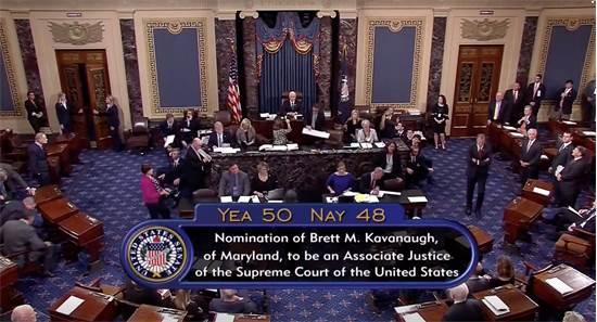 """הספירה הסופית של הקולות בדיון בסנאט למינוי ברט קאוואנו לביהמ""""ש העליון בארה""""ב / רויטרס"""