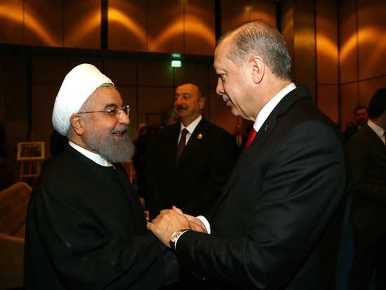 נשיא איראן רוחאני עם נשיא טורקיה ארדואן / צילום: רויטרס -Kayhan OzerPool