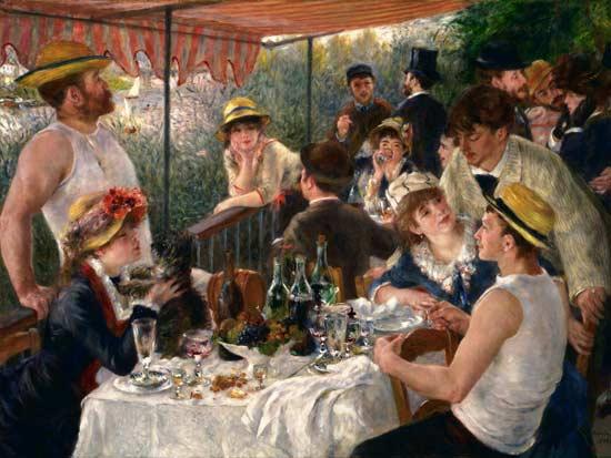 """הציור """"ארוחה בבית הסירות"""" של רנואר, 1881"""