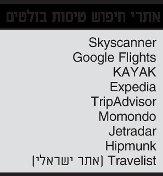 אתרי חיפוש טיסות בולטים
