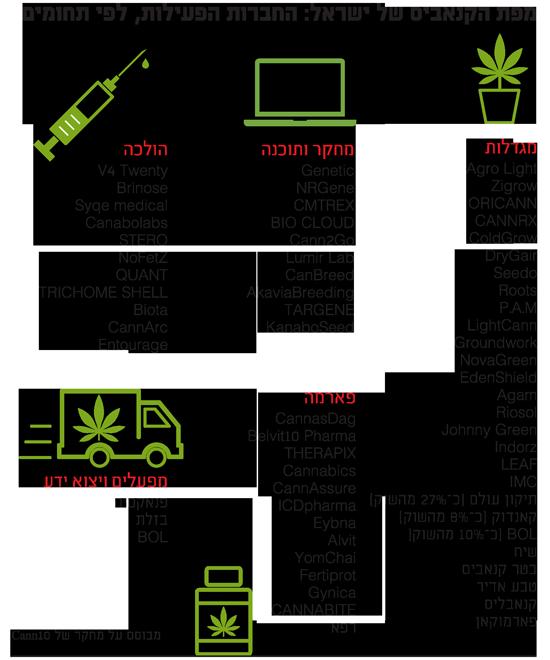 מפת הקנאביס של ישראל: החברות הפעילות, לפי תחומים