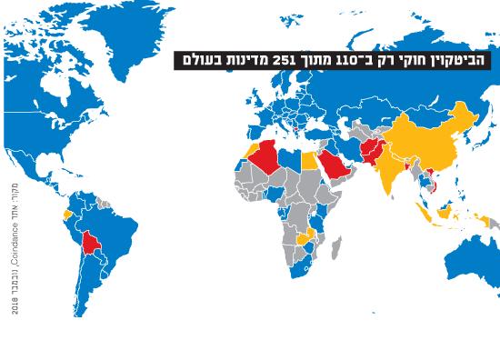 הביטקוין חוקי רק ב-110 מתוך 251 מדינות בעולם