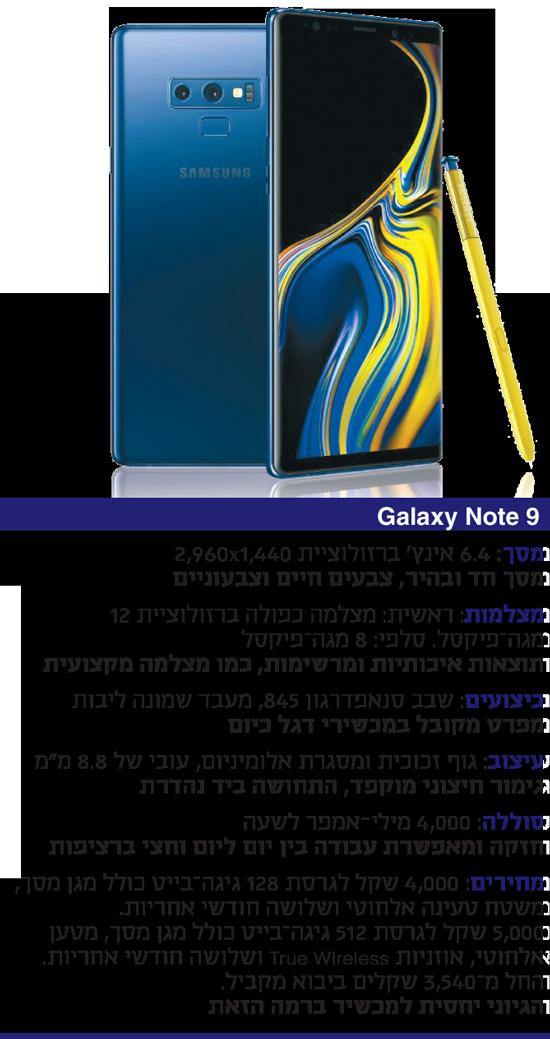 "Galaxy Note 9 צילום: יח""צ"