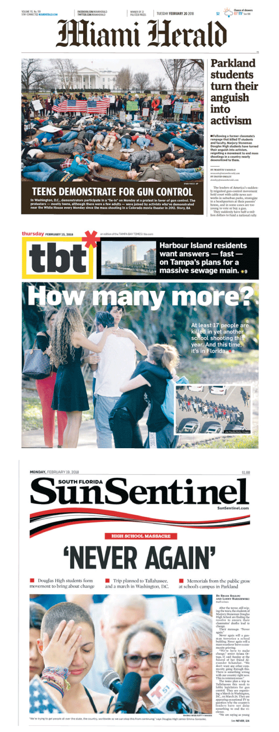 עיתוני פלורידה בעקבות הטבח בפארקלנד