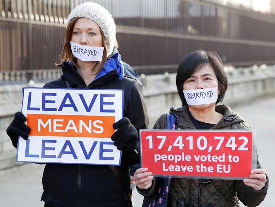 מפגינות תומכות ברקזיט, השבוע בלונדון / צילום: רויטרס