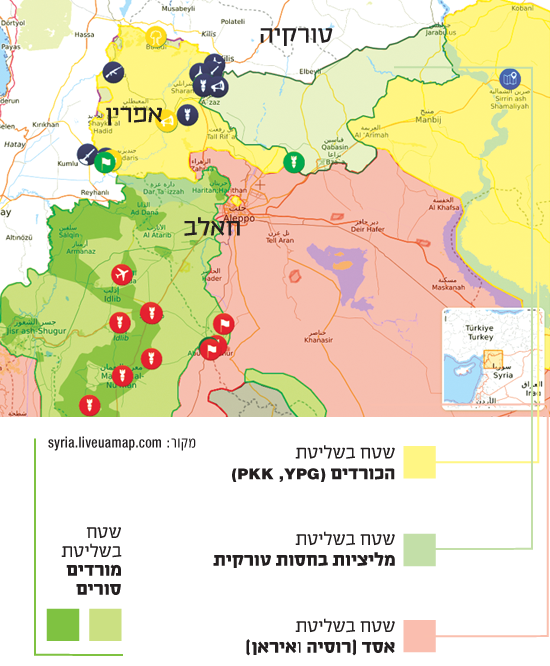מי שולט? יחסי הכוחות בצפון סוריה, מפה עדכנית