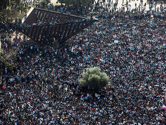 מחאת המהגרים ב־2014, כיכר רבין / צילום: רויטרס - Nir Elias