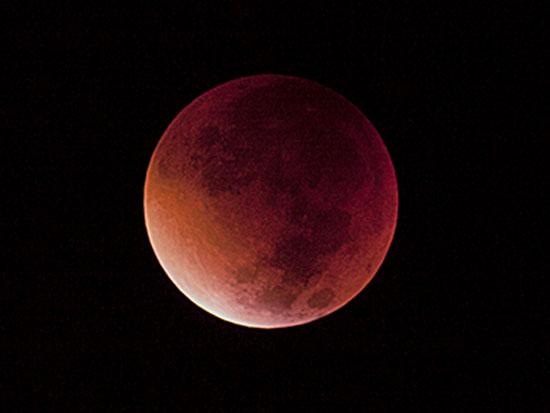 מצפה רמון והסביבה, ירח מסמיק תוך כדי ליקוי / צילום: פיליפ בונו