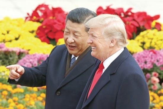 הנשיא טראמפ עם נשיא סין שי ג'ינגפינג / צילום: רויטרס, Thomas Peter