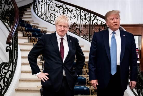 בוריס ג'ונסון ודונלד טראמפ בפסגת G7 / צילום: רויטרס