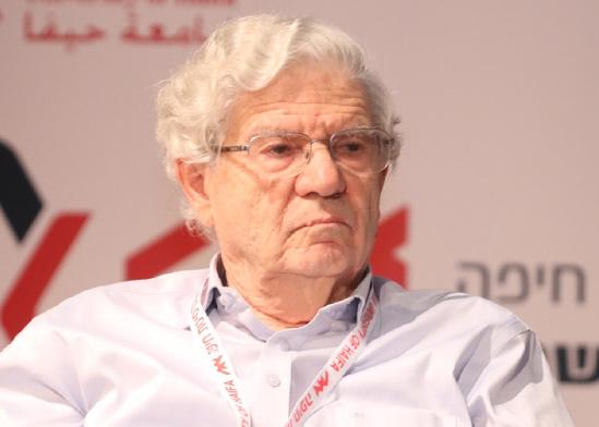 נשיא העליון לשעבר אהרן ברק בכנס חיפה למשפט / צילום: דוברות אוניברסיטת חיפה