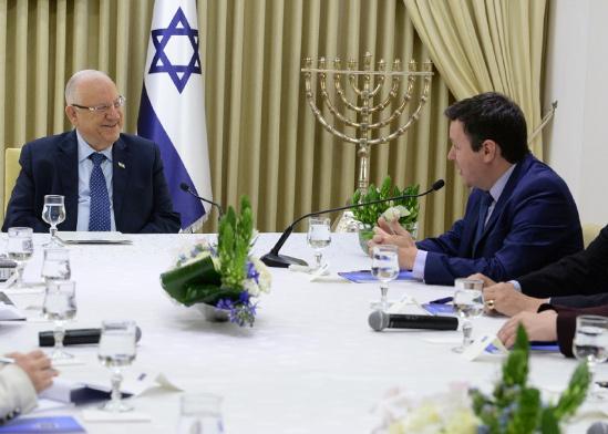 """הגעת סיעת ישראל ביתנו לבית הנשיא במסגרת ההתייעצויות / צילום: מארק ניימן לע""""מ"""