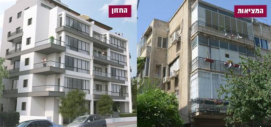 הפטמן 2, תל אביב / צילום: איל יצהר, הדמיה: החברה לחיזוק מבנים בישראל