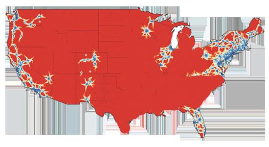 מפה שמתארת את אמריקה ביום שלאחר ביטול פסיקת ROE