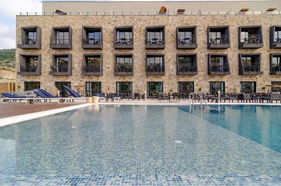 """הבריכה במלון """"קדם"""" במורדות יערות הכרמל של קבוצת """"שתית"""" / צילום: רון שלף"""