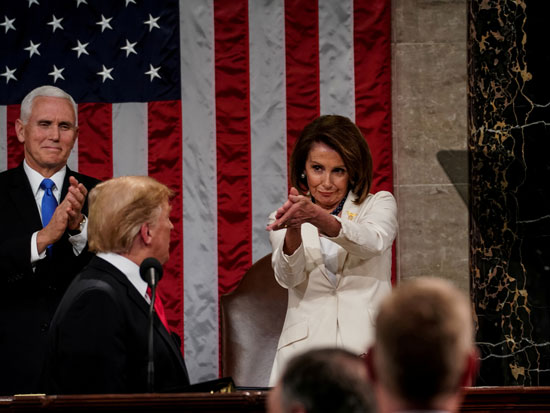 ננסי פלוסי  ודונלד טראמפ/ צילום: Doug-MillsPool-via-REUTERS
