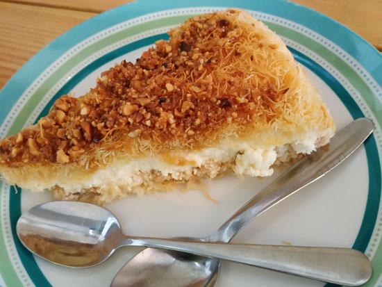 עוגת גבינה עם שערות קדאיף/ צילום: חיליק גורפינקל