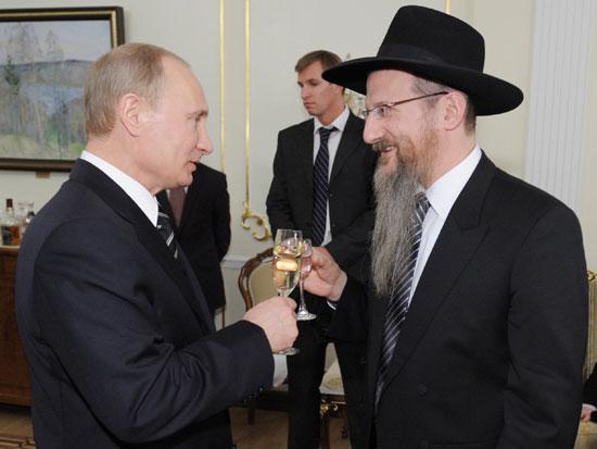 פוטין והרב הראשי של רוסיה ברל לאזאר / צילום: רוטרס RIA Novosti
