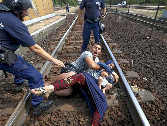 מאבק ביו שוטרים לפליטים בהונגריה / צילום: רויטרס