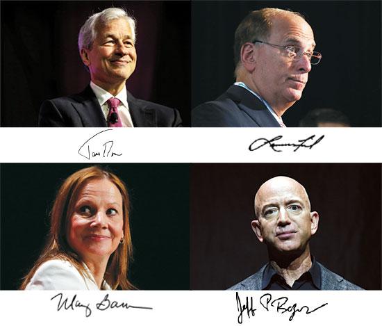 משמאל: ג'יימי דיימון, ג'יי פי מורגן צ'ייס, לארי פינק, בלקרוק, מרי בארה, ג'נרל מוטורס, ג'ף בזוס, אמזון / צילום: רויטרס