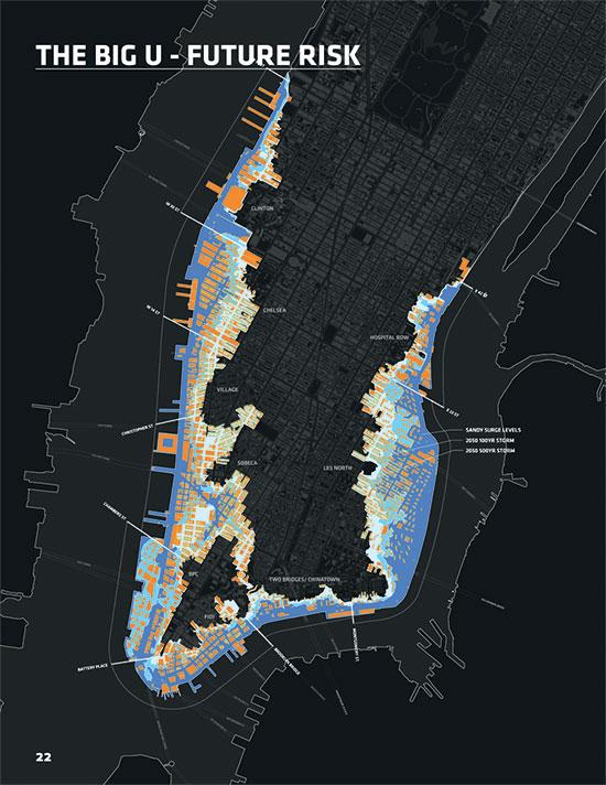 האזורים במנהטן המצויים בסכנה / איור: rebuildbydesign