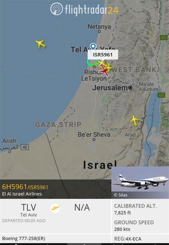 צילום מסך של הטיסה מאנטבה לתל אביב