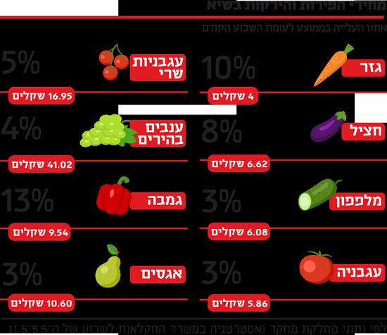 מחיר הפירות והירקות בשיא