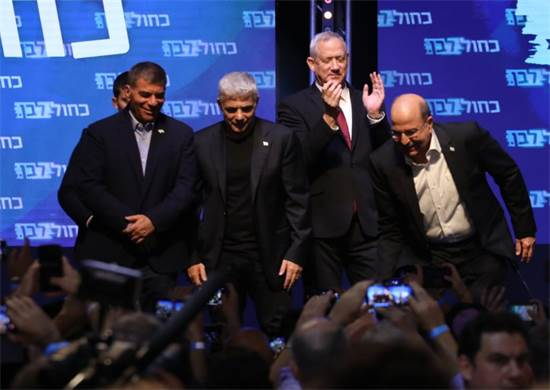 צמרת כחול לבן לאחר פרסום תוצאות המדגם בבחירות לכנסת ה-22 / צילום: כדיה לוי, גלובס