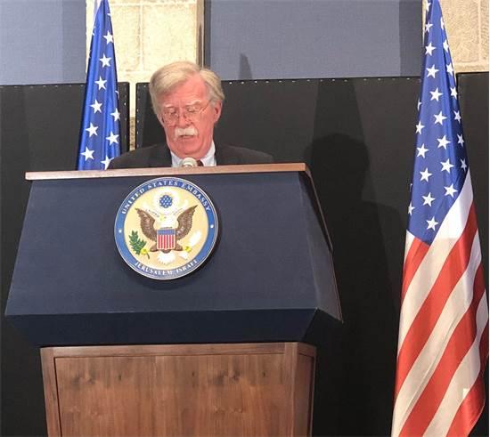 ג'ון בולטון בעת מסיבת עיתונאים בירושלים / צילום: טל שניידר, גלובס
