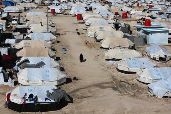 מחנה הפליטים אל־האול בסוריה במבט מהאוויר/ צילום: רויטרס - Ali Hashisho