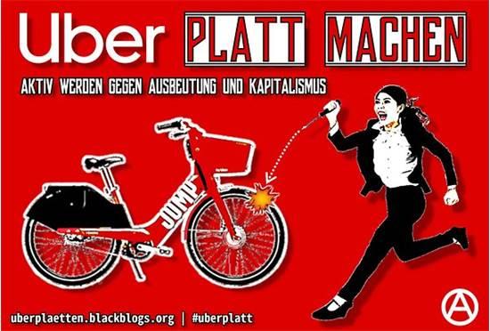 """כרזת הקמפיין הקורא לפגוע באופניים של אובר / צילום: de.indymedia.org, יח""""צ"""