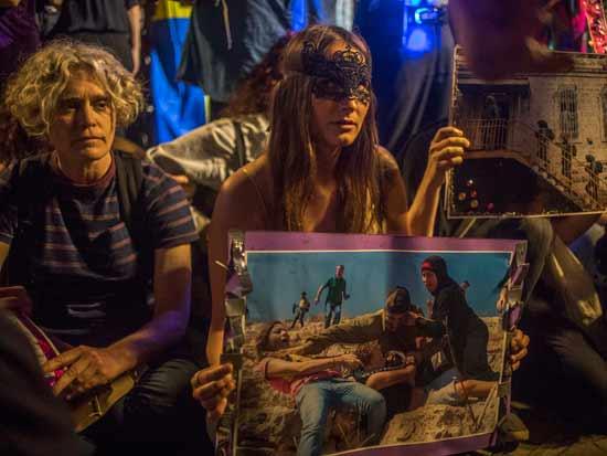 """פעילי BDS מוחים בת""""א נגד קיום האירוויזיון בישראל  / צילום: Gettyimages ישראל"""