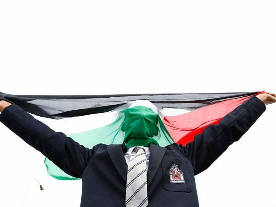 תומך BDS מפגין בהופעת פארל ויליאמס בקייפטאון, 2015    / צילום: Gettyimages ישראל