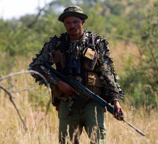איש כוחות הביטחון של דרום אפריקה שנלחמים בציד הלא חוקי /  צילום: רויטרס Chaiwat Subprasom